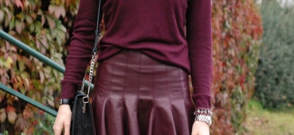 wine leather look ruffle skirt