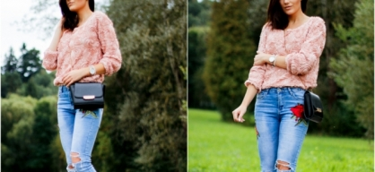 rose jeans & sweater.
