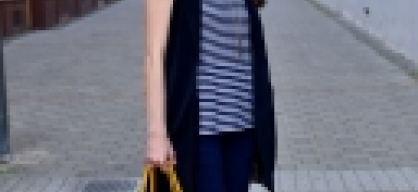 striped t-shirt with long vest