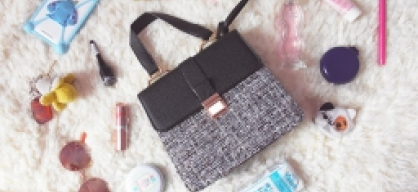 {Dresslily} Metal PU Leather Spliced Tweed Tote