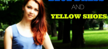 Blue dress and yellow shoes