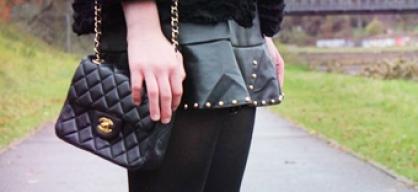 LEATHER SKIRT WITH STUDS