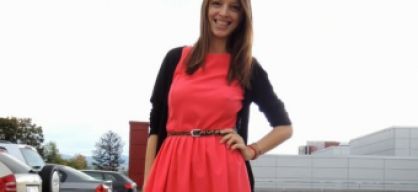 coral dress with leopard belt