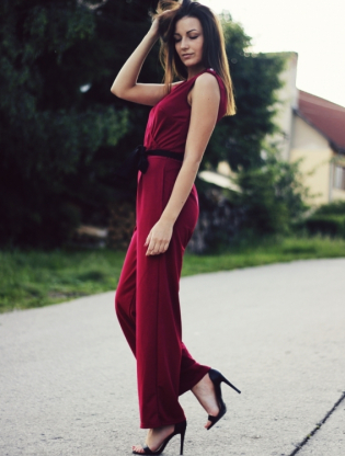 burgundy playsuit.