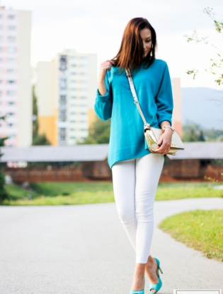 turquoise sweater.
