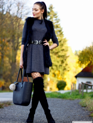gray dress and bag