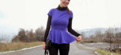 Purple peplum and dotted ...